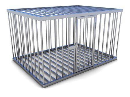 prison break: Empty metal cage with a door. Stock Photo