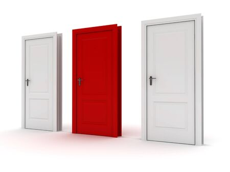 Doors. One red, two white Stock Photo