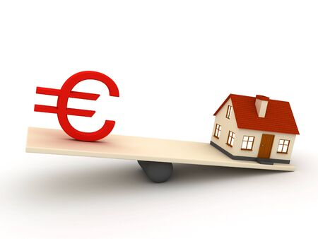 Little house and euro sign Stock Photo