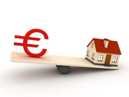 arquitecto caricatura: Pequeña casa y signo del euro Foto de archivo