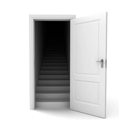 Open door. Entrance in darkness.