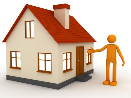 3D pequeña casa con techo rojo y orangeman