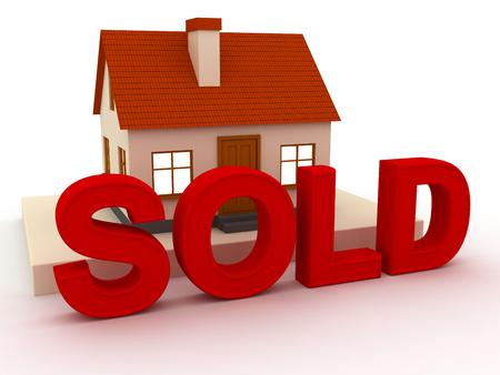 3D illustratie. klein huis met een rood dak en opschrift verkocht