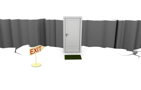 betrayal: Exit through a closed door to the abyss. 3d render Stock Photo