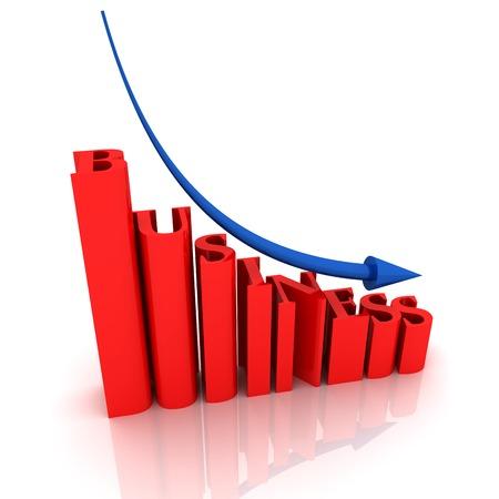 Financial state, blue arrow go down