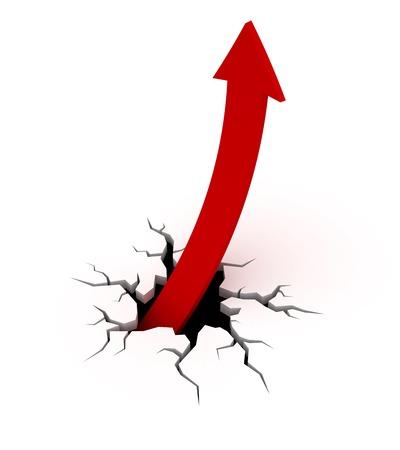 red arrow salir de una grieta en el suelo.
