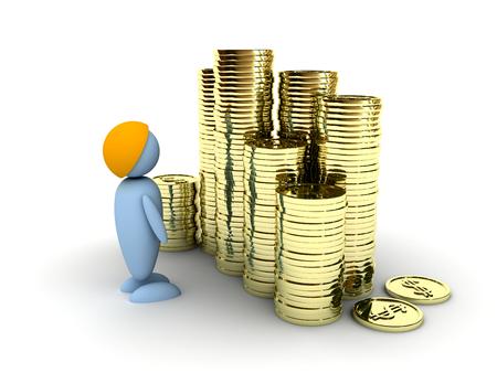 Businessman looks at his profit. 3d image renderer