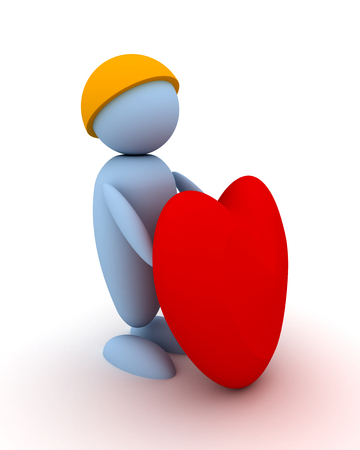 Man gives a heart. 3d image renderer