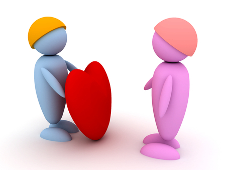Man gives his heart to his girlfriend. 3d image renderer Stock Photo