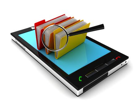 Mobile phone and folder. 3d image renderer Stock fotó