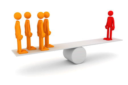 Equilibrium between one man and a group of people. 3d image renderer Stock Photo