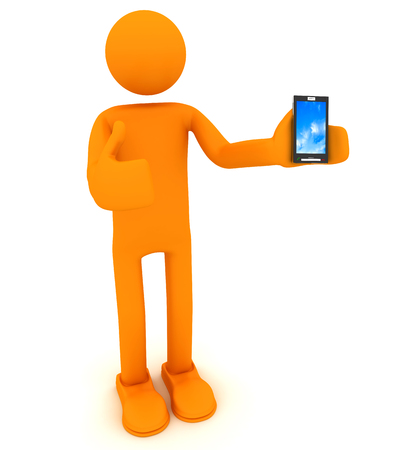 Man holds a cell phone. 3d image renderer