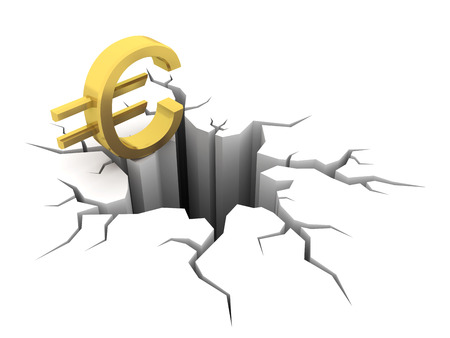Euro and hole. Financial crisis. 3d image renderer Stock Photo