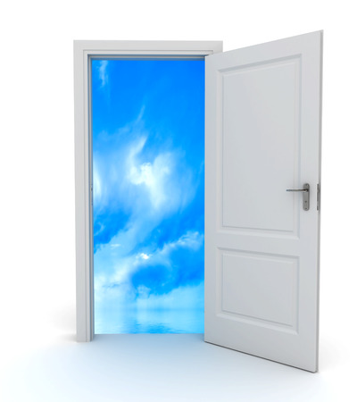 Open door to the sky. 3d image renderer Stok Fotoğraf