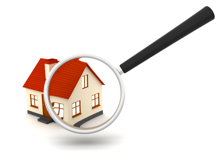 House searching with a magnifying glass. 3d image renderer