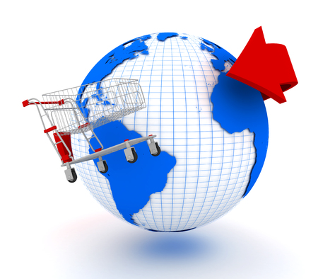Shopping cart revolves around the planet. 3d image renderer