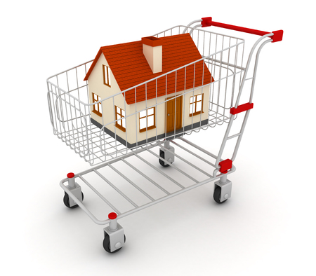 House is in the shopping cart - the concept of the property. 3d image renderer