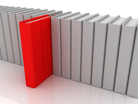White books and one red book. 3d image renderer