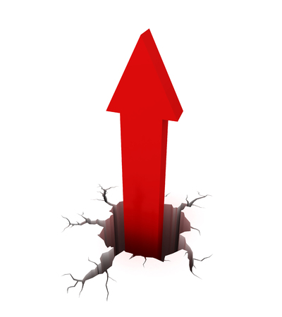Flecha roja saliendo de una grieta en el suelo. Renderizador de imágenes 3d