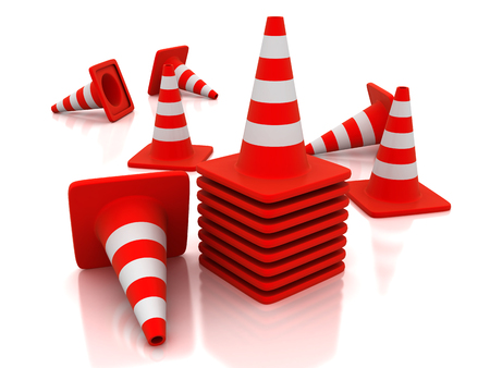 Traffic cones with white stripes. 3d image renderer