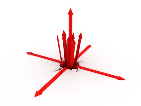 Red arrow getting out from a crack on the ground. 3d image renderer Foto de archivo