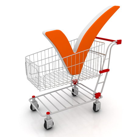 Shopping cart and check mark - conceptual image. 3d image renderer Stock Photo