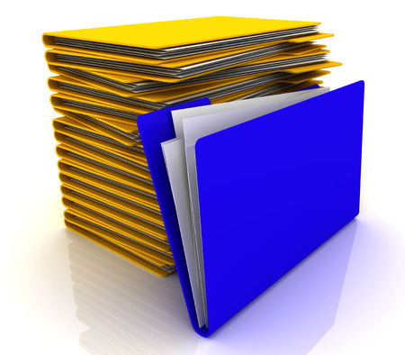 Stack of yellow folders and one blue folder. 3d image renderer Stock Photo