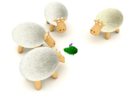 Sheeps look at the flower. 3d image renderer Banco de Imagens