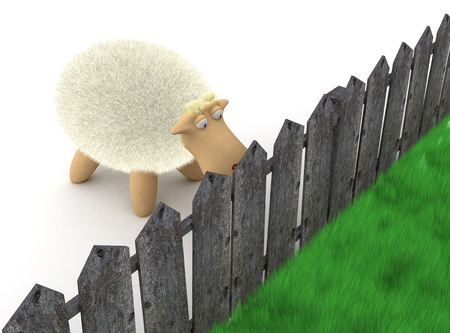 Sheep look at the grass. 3d image renderer