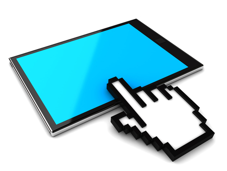 Portable tablet pc with hand cursor. 3d image renderer Stock Photo