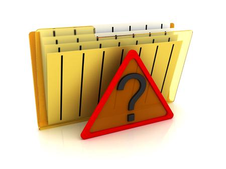 File folder with question symbol. 3d image renderer