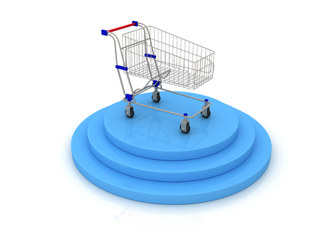 Shopping cart and goal. 3d image renderer