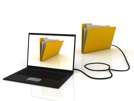 Black laptop with folders. Storage concept. 3d image renderer
