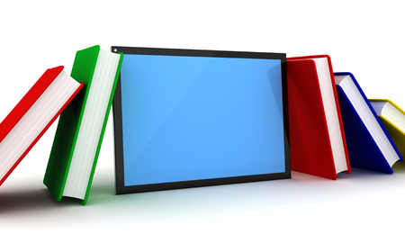 Books and tablet pc. 3d image renderer Stock Photo
