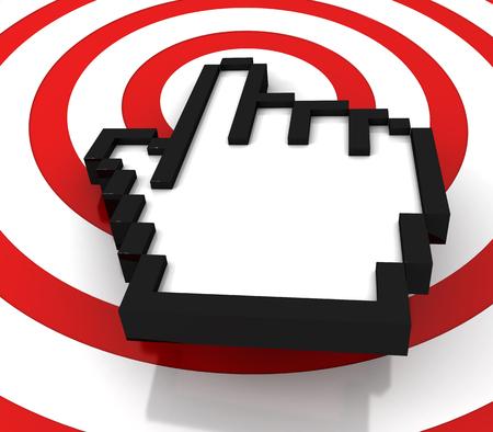 Hand cursor and the target. 3d image renderer