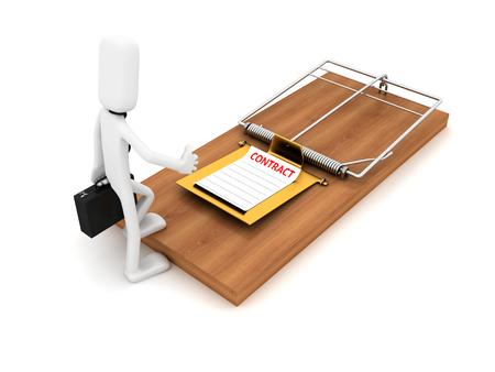 Geschäftsmann und Mausefalle - konzeptionelles Bild. 3D-Bildrenderer