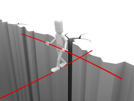 Man who balances - conceptual image. 3d image renderer Standard-Bild