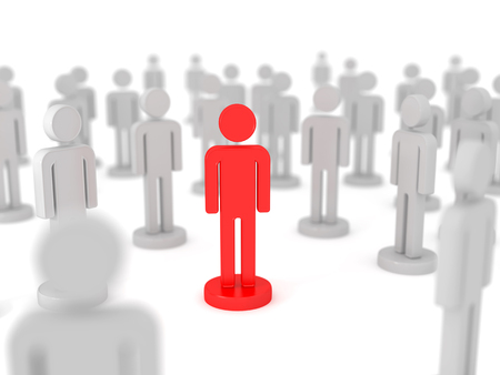 Man stands out from the crowd. 3d image renderer