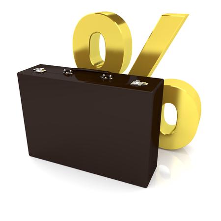 Business case and golden percentage symbol on the white background. 3d image renderer