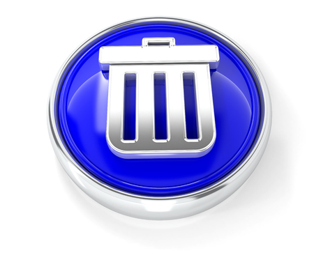 Trash can icon on glossy blue round button. 3d image renderer Banque d'images