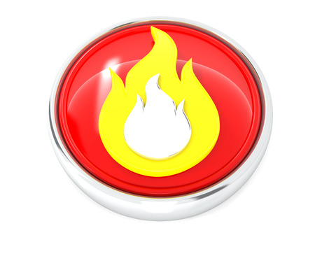 Fire icon on glossy red round button. 3d image renderer
