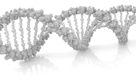 Diagonal DNA chain against white background, conceptual image. 3d image renderer