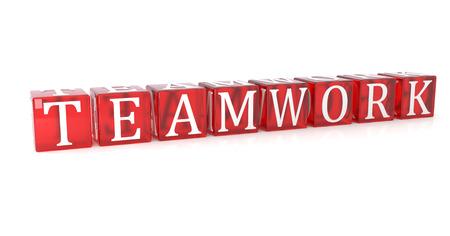 Teamwork Cube text on white background. 3d image renderer Reklamní fotografie