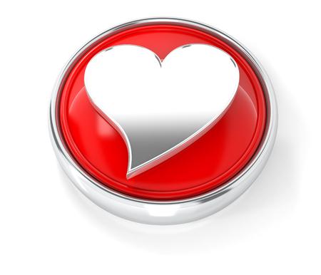 Heart icon on glossy red round button. 3d image renderer Stock Photo