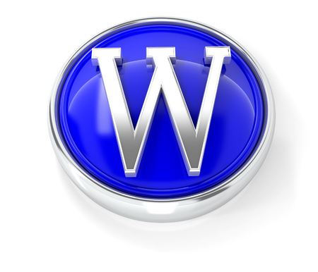 W icon on glossy blue round button. 3d image renderer