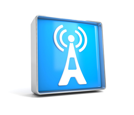 Antenna - web button isolated on white background Banco de Imagens