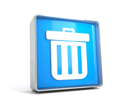 Trash - web button isolated on white background. 3d image renderer