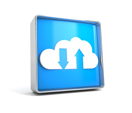 Cloud - web button isolated on white background. 3d image renderer