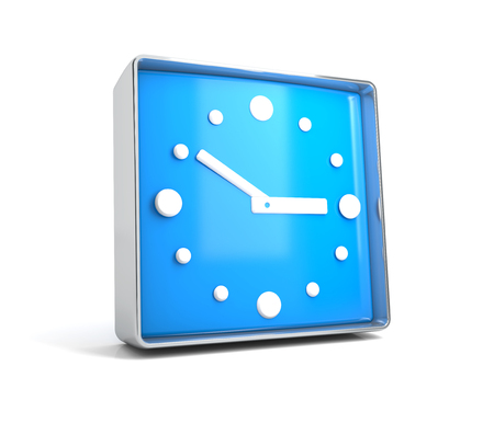 Clock - web button isolated on white background. 3d image renderer