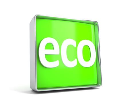 Eco - web button isolated on white background. 3d image renderer Banco de Imagens